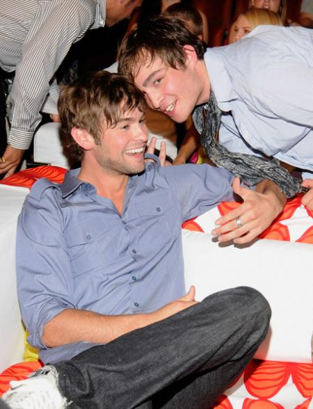 Ed Westwick and Chase Crawford share a relaxed moment