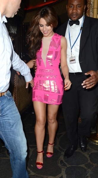 Cheryl Cole parties in pink