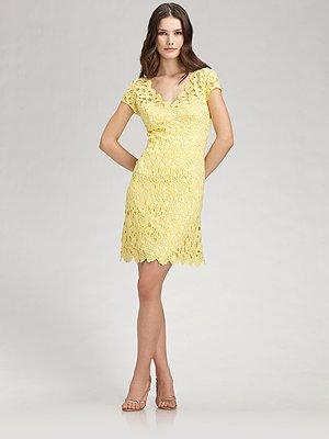 Chetta B Yellow Lace Dress