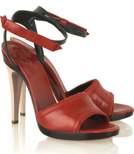 Chloe Red Leather Bow Sandals