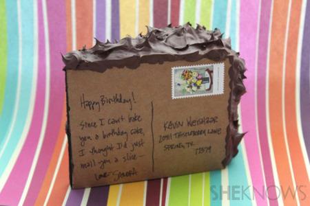 Postcard side of cake