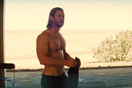 A shirtless Chris Hemsworth in Thor
