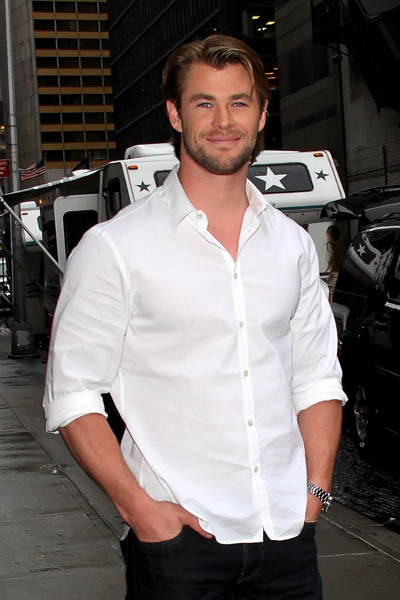 Chris Hemsworth outside The David Letterman Show
