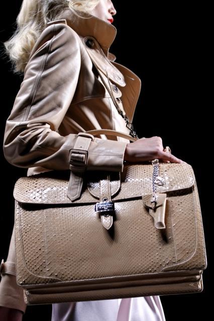 Christian Dior Beige Snake Skin Briefcase