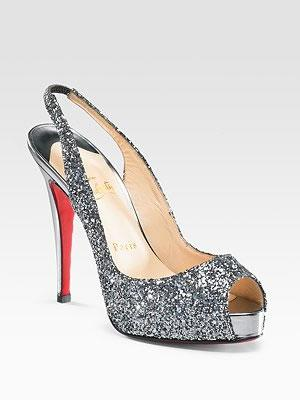 Christian Louboutin Glitter Peep-toe Slingbacks
