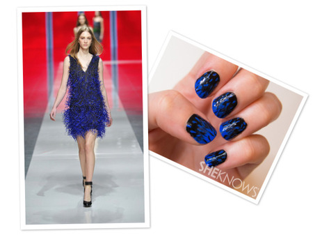 Christopher Kane-inspired black and textured blue nails