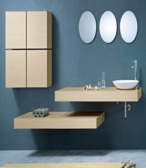 Minimalist bathroom with circle mirrors