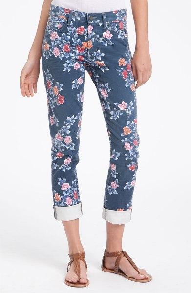 Mandy High Waist Slim Leg Floral Print Jeans