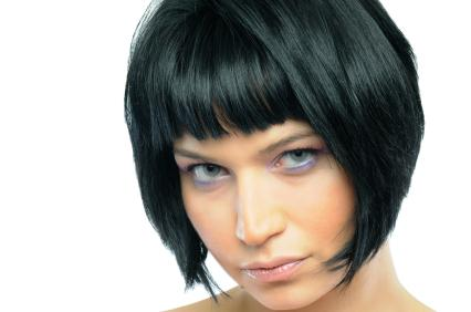 Short Bob Hairstyle Black Hair with Bangs