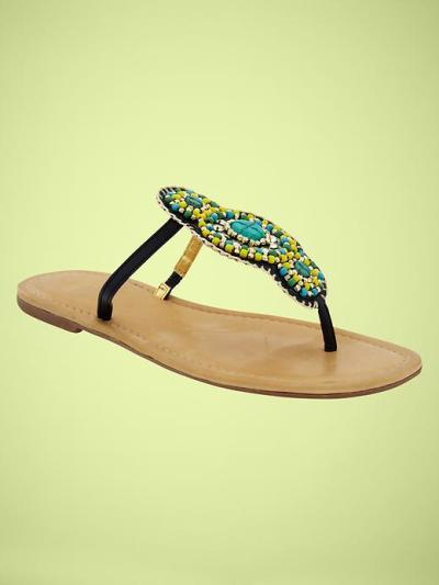 Beaded T-strap flip flops