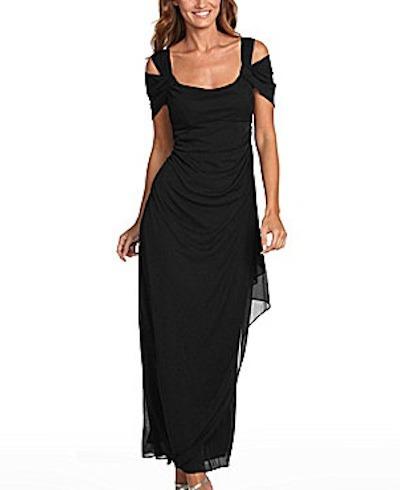 Cold shoulder mesh gown