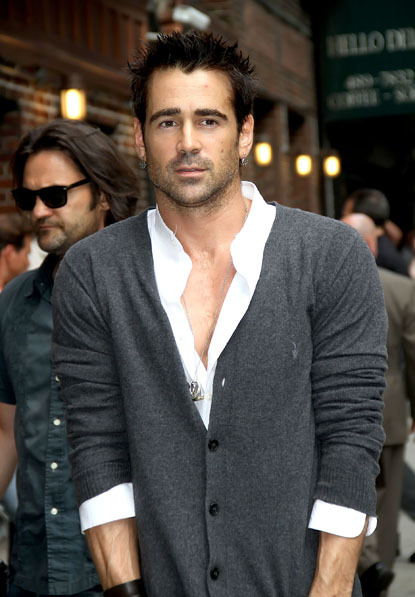 Colin Farrell outside of the David Letterman show