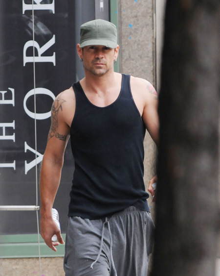 Colin Farrell after his workout