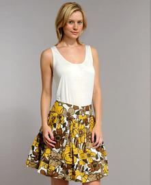 Bold Floral Pleated Skirt