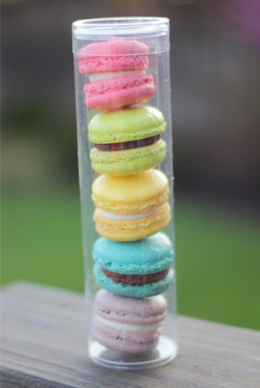 Colorful macarons in clear tube