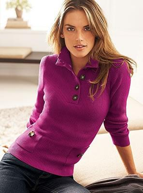 Cotton rib turtleneck henley sweater in pink punch.