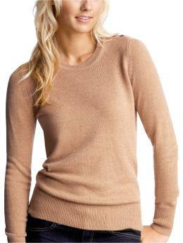 Luxe crewneck sweater in camel heather