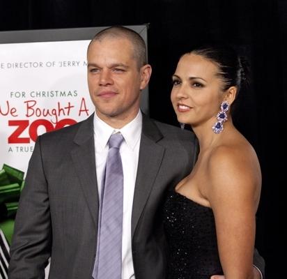 Matt Damon and wife attend premiere