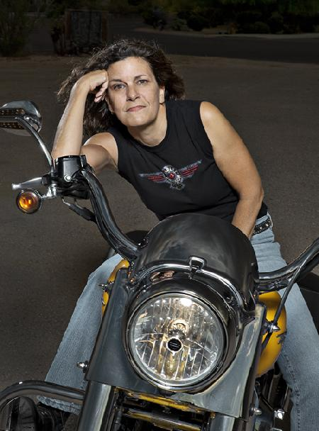 Darnell on her Harley-Davidson Motorcycle