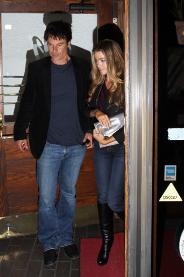 Denise Richards and a friend leave Madeo restaurant