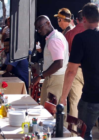 Taye Diggs on set