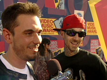DJ AM and Travis Barker on the red carpet