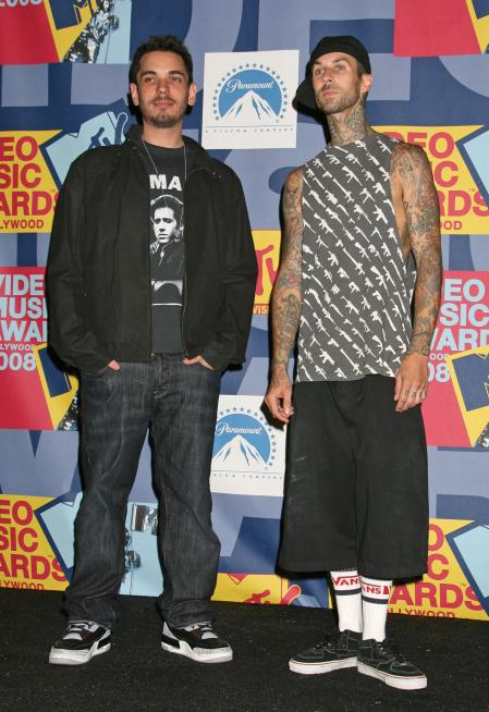 DJ AM and Travis Barker at the MTV Video Music Awards