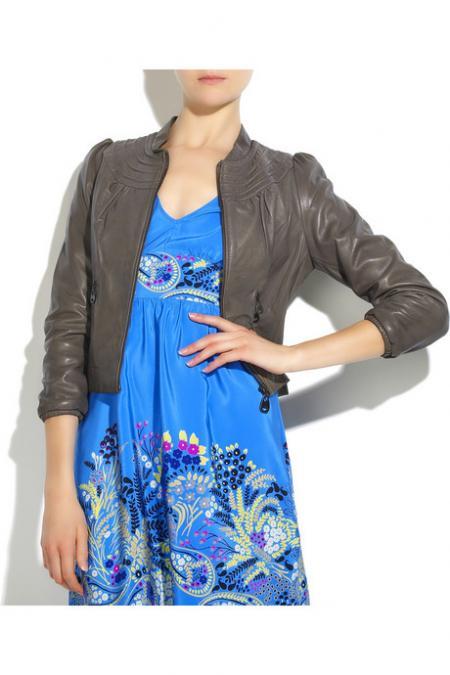 Doma puff-sleeve leather jacket