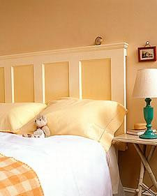 Create a headboard from a wooden door.