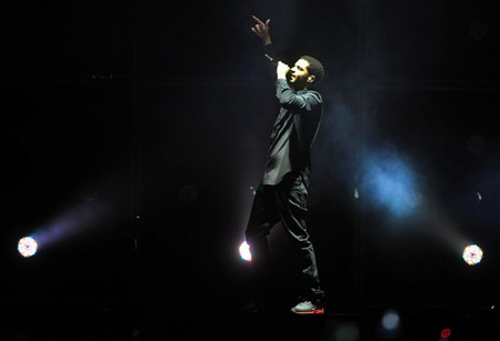 Drake performing at the O2 Arena in London, England