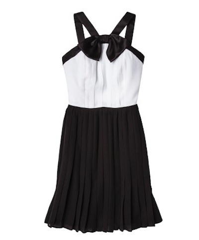 Pleated black and white dress