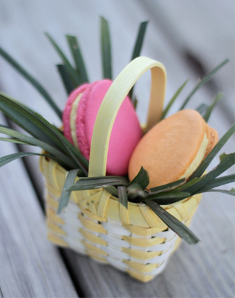 Easter egg macarons in basket