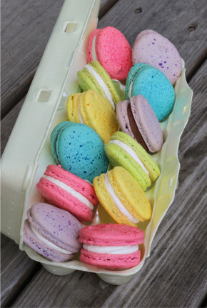 Easter egg macarons in carton