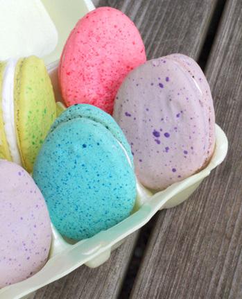 Easter egg macarons in carton
