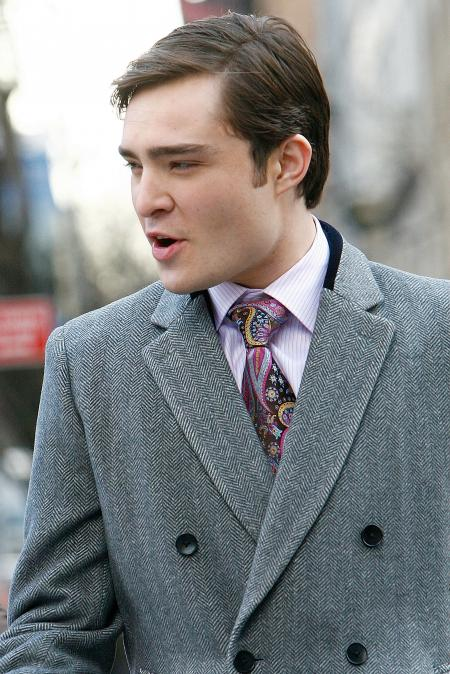 Ed Westwick of Gossip Girls is seen here in a heavy jacket
