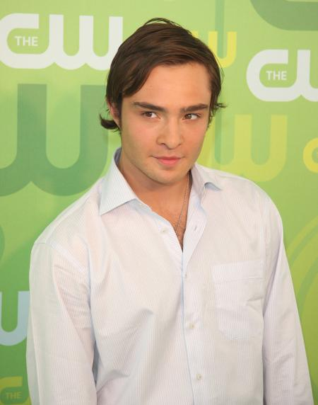 Ed Westwick looking clean in a white shirt at a CW event
