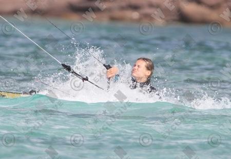 Victoria's Secret model goes kite surfing