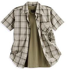 Plaid 2-Piece Woven Shirt & Tee