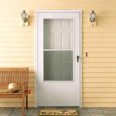 Storm doors emco 100 series white vinyl self storing for Vinyl storm doors