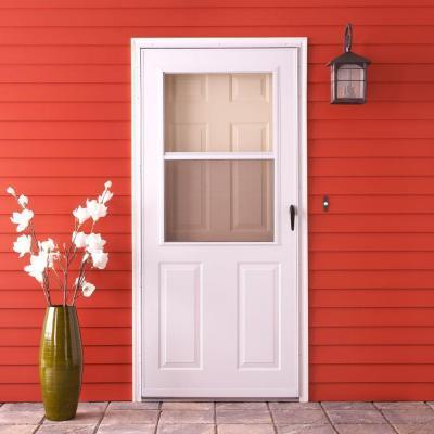 Storm doors emco 200 series white aluminum traditional for All glass storm door