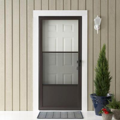 EMCO 75 Series Bronze Aluminum Self-Storing Storm Door