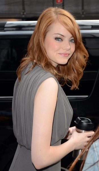 Emma Stone with curls