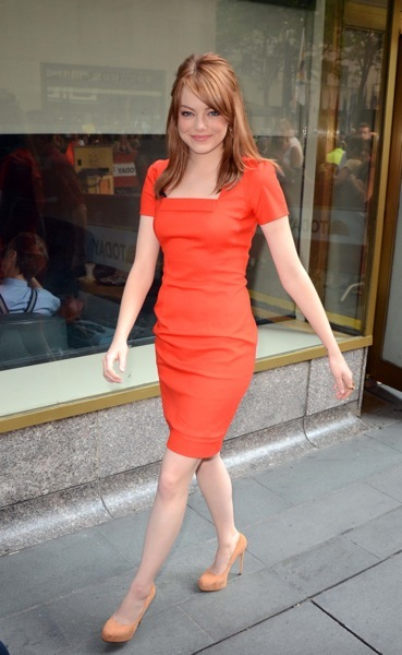 Emma Stone in a red dress