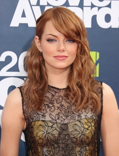 Emma Stone&#039;s asymmetrical hairstyle