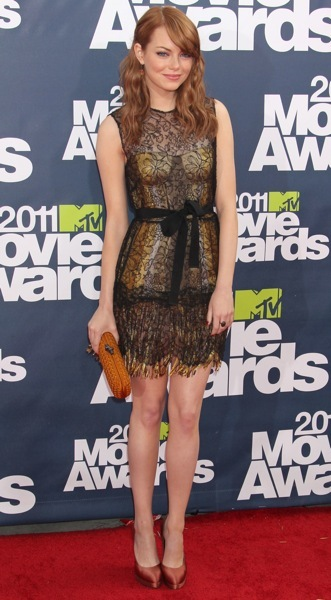 Emma Stone in a sheer dress
