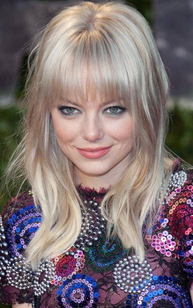 Emma Stone with straight bangs