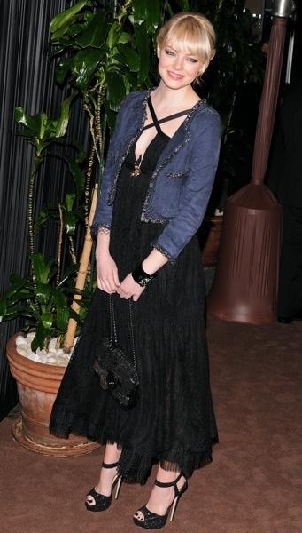Emma Stone in a denim jacket