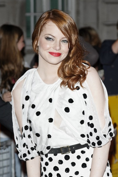 Emma Stone with red lips