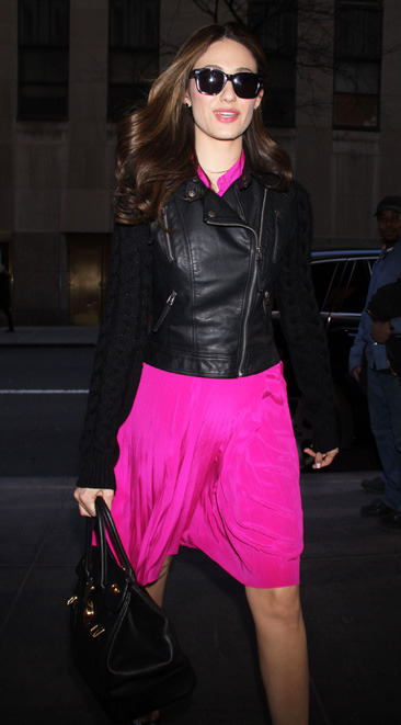 "Emmy Rossum arrives at ""New York Live"" studios"