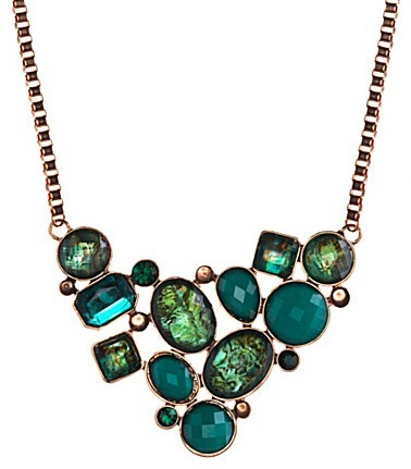 Gemstone mosaic bib necklace